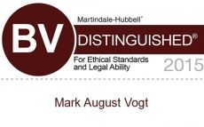 Accolade Martindale-Hubbell BV Distinguished for Ethical Standards and Legal Ability 2015 Mark Vogt